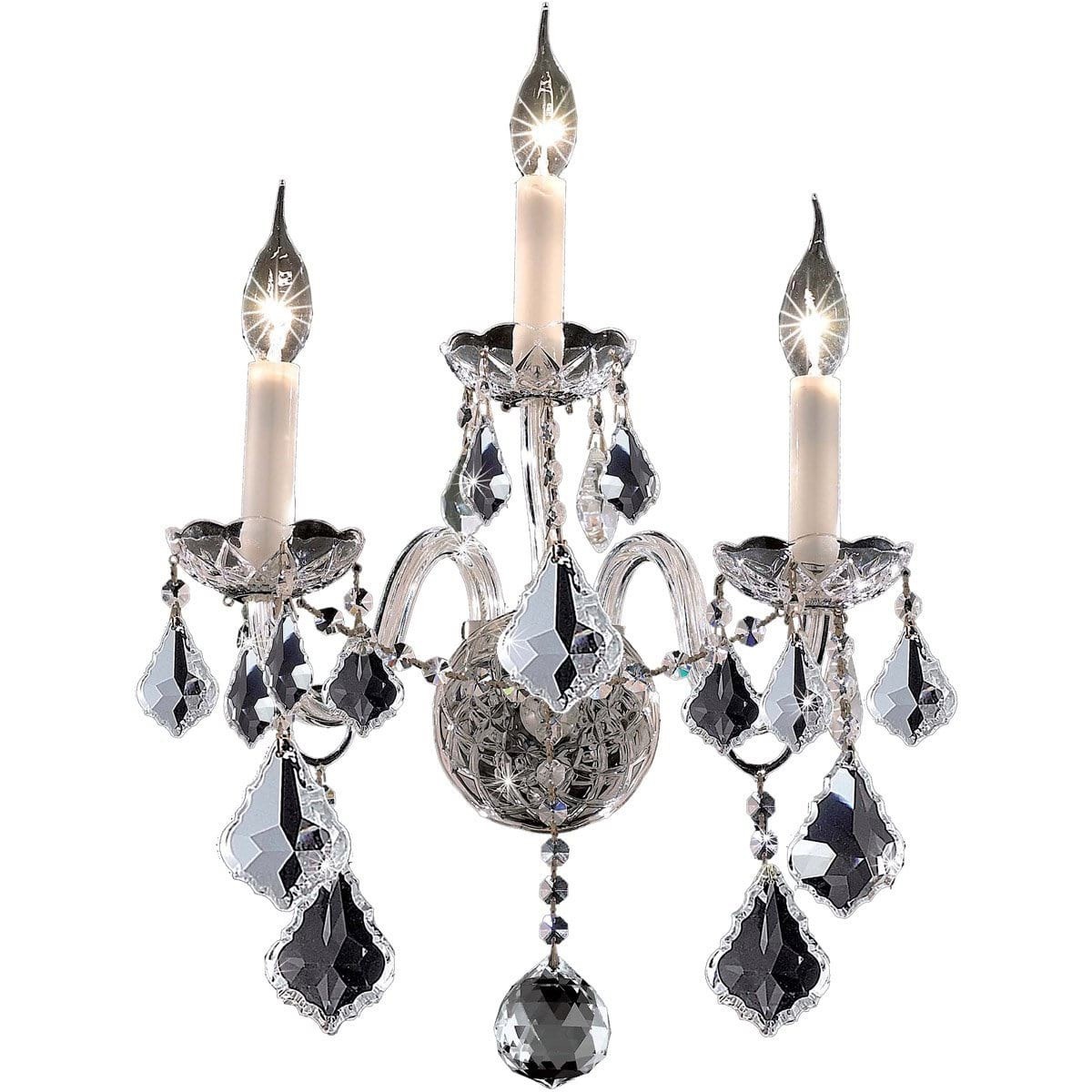"Alexandria 13"" Crystal Wall Sconce with 3 Lights - Chrome Finish and Royal Cut Crystal"