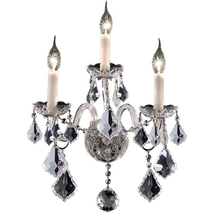 "Alexandria 13"" Crystal Wall Sconce with 3 Lights - Chrome Finish and Elegant Cut Crystal"