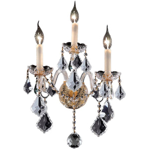 "Alexandria 13"" Crystal Wall Sconce with 3 Lights - Gold Finish and Elegant Cut Crystal"