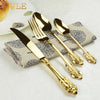 24PCS DINING KNIFE FORKS TEASPOONS SET GOLDEN LUXURY DINNERWARE - KITCHEN TOOL