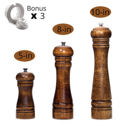 Solid Wood Pepper Mill with Strong Adjustable Ceramic Grinder - KITCHEN TOOL