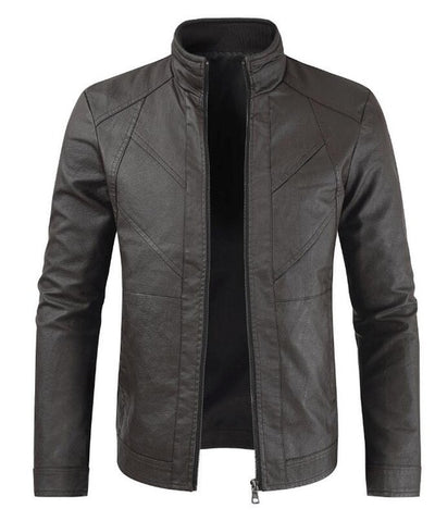 Men's Leather Jacket Brand Autumn Spring Casual Zipper Leather Jacket warm chef uniform