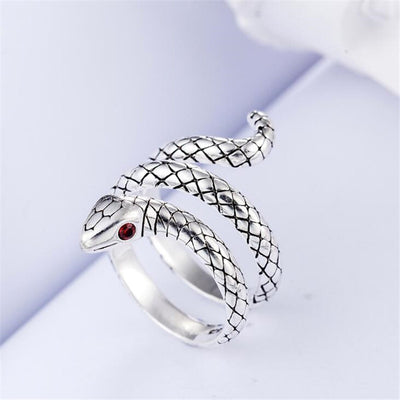 925 Sterling Silver Red Eyes Snake Rings For Chef