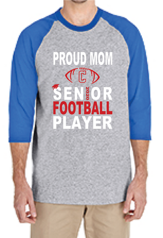 Rams Football Senior Mom Raglan Style (mens cut)