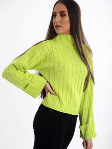 Pull Col Roulé Lime