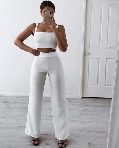 Ensemble Assorti Pantalon et Top White