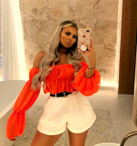 Crop Top Bardot Orange