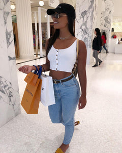 Crop Top à Boutons White