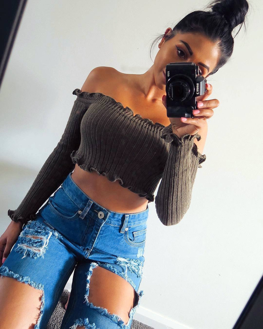 Crop Top Khaki