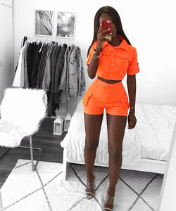 Ensemble Assorti Short et Top Orange