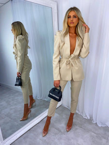 Ensemble Assorti Veste et Pantalon Beige