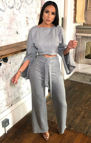 Ensemble Côtelé Pantalon et Top Grey