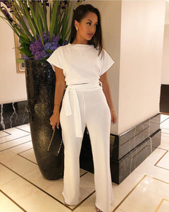 Ensemble Côtelé Pantalon et Top White