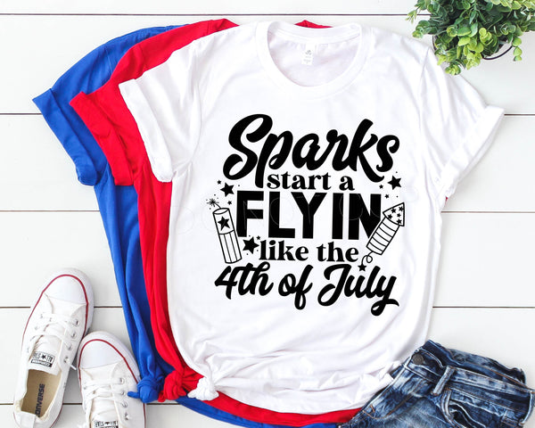 Sparks Start A Flying Like The 4th Of July Screen Print Transfer
