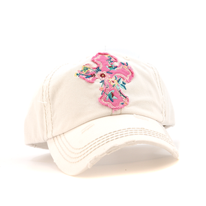 Hat with pink flower cross
