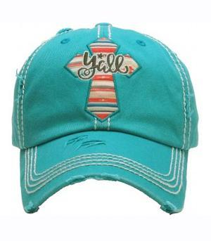 """Ya'll"" Cross hat Teal"