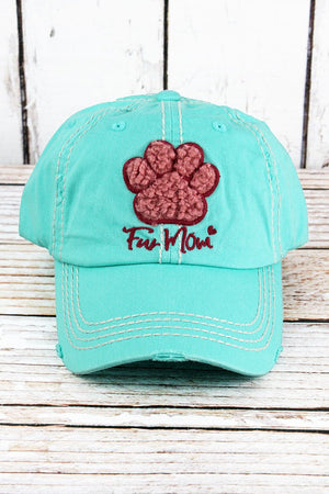 "Hat "" Fur Mom"" with paw"