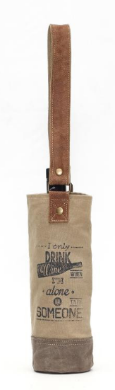 Leather and Canvas Wine Bag