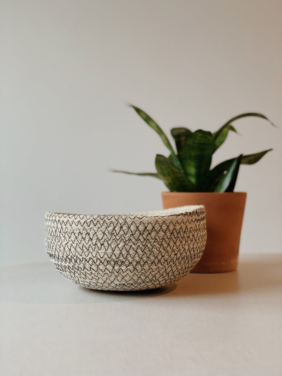 "Our Minimalistic Amari Round Bowls are available in four sizes, they are useful in every room of the home. Each product is designed and curated by Korissa, sustainably handmade by Fair Trade artisans in Bangladesh.  Extra Large - 4""tall x 9""round Large - 3.5""tall x 8""round Medium - 3.25"