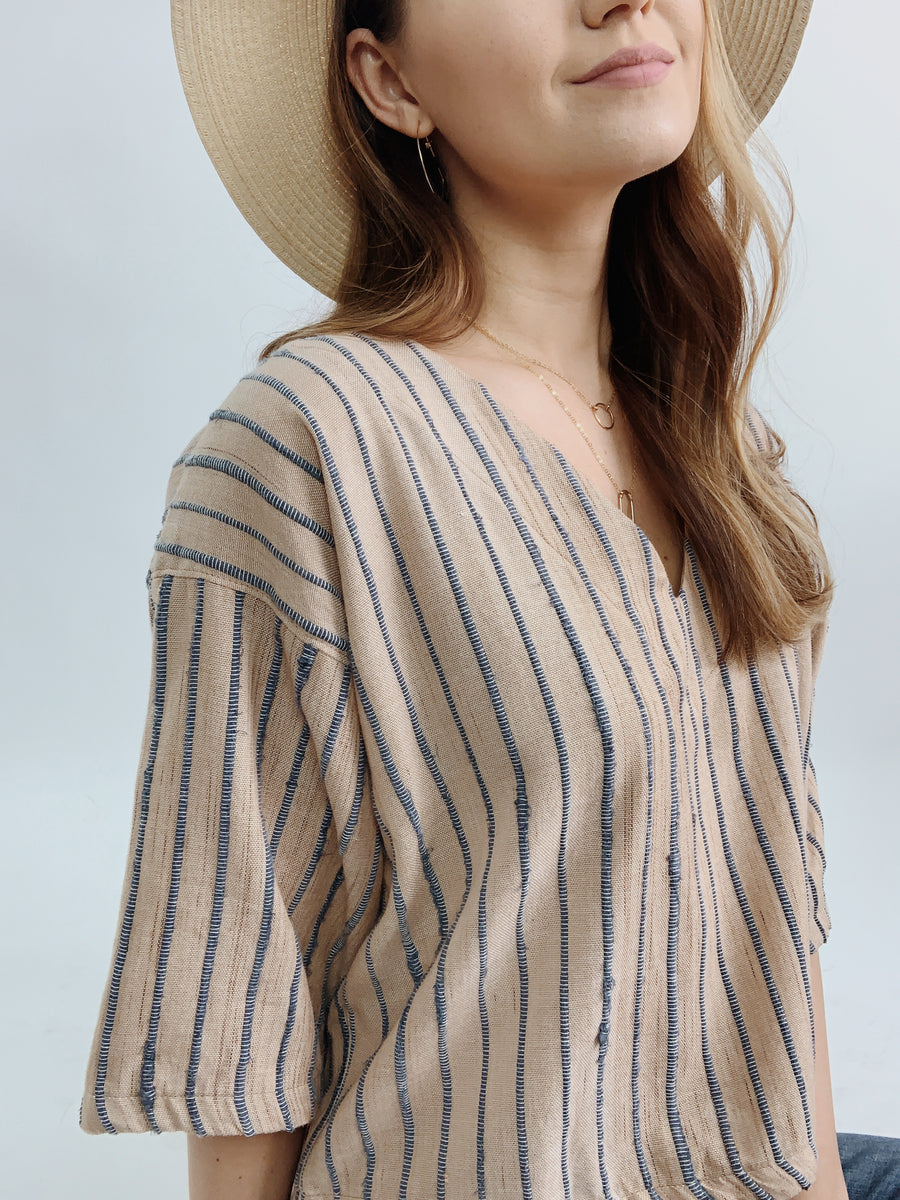 Tonlé Veha Palm & Dusty Blue Top