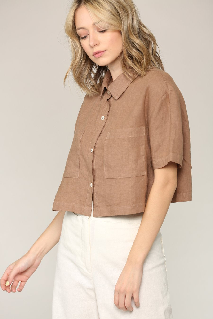 Josie Cropped Button Down Linen Shirt