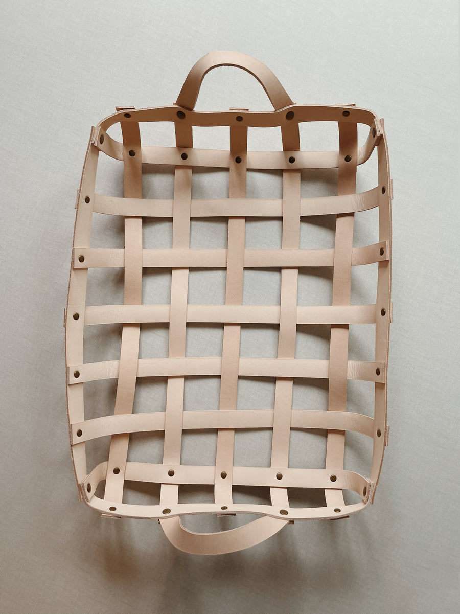 Large Woven Leather Basket