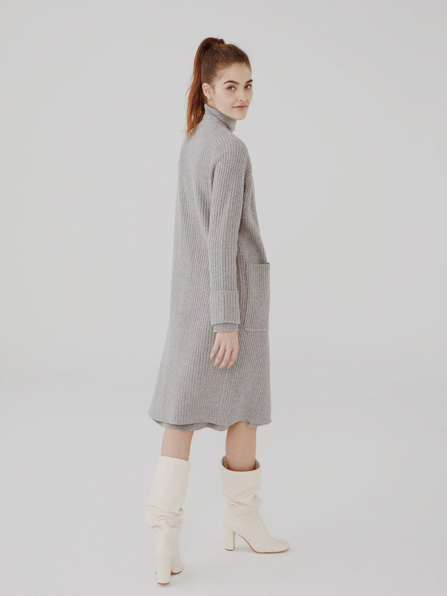 Wool Cashmere Maxi Ribbed Cardigan