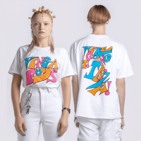 SSHH x Vengaboys T-shirt in white on Models - Vengaboys on the front & We're going to Ibiza on the back | T-shirt | WeLiketoParty.com | Official Vengaboys Merchandise