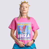 Ibiza T-shirt in Pink on Model | T-shirts | WeLiketoParty.com | Official Vengaboys Merchandise
