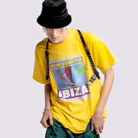 Ibiza T-shirt in Yellow on Model | T-shirts | WeLiketoParty.com | Official Vengaboys Merchandise