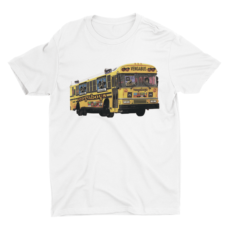Vengaboys Vengabus T-shirt in White with Vengabus print | T-shirts | WeLiketoParty.com | Official Vengaboys Merchandise
