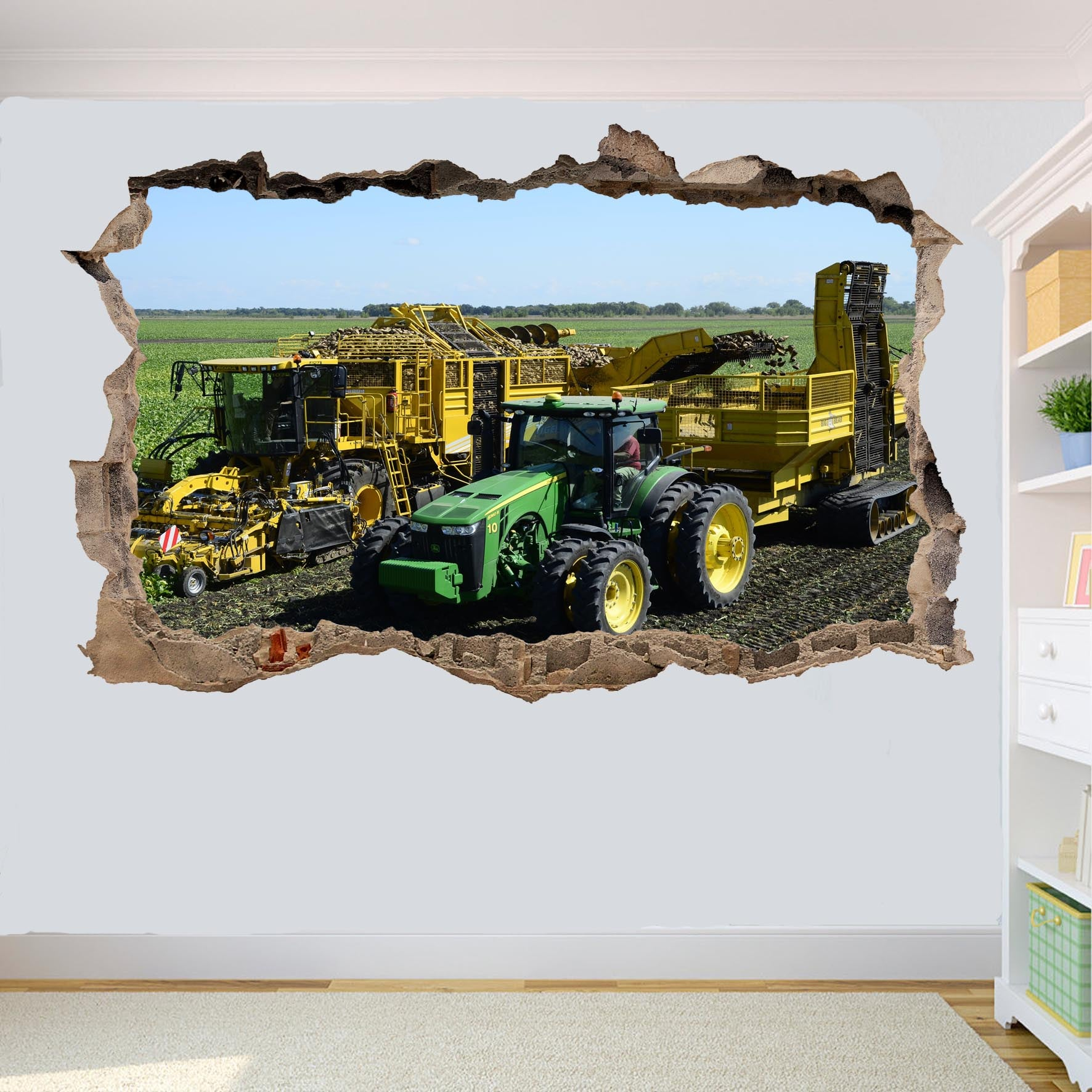 Potato Harvester And Tractor Wall Stickers 3d Art Smashed Effect