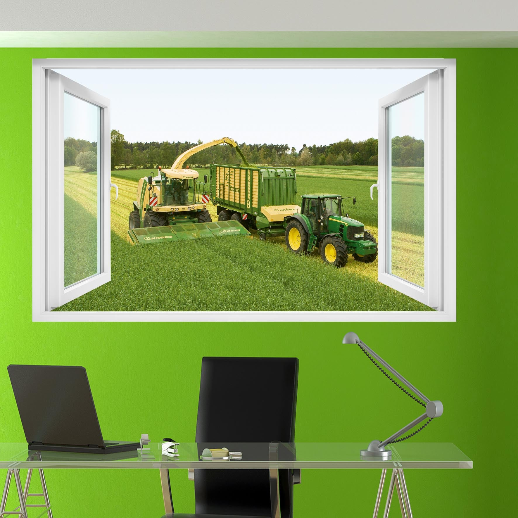 ... AGRICULTURAL MACHINERY KRONE AND JOHN DEERE WALL STICKERS 3D ART  SMASHED EFFECT HOME ROOM OFFICE SHOP