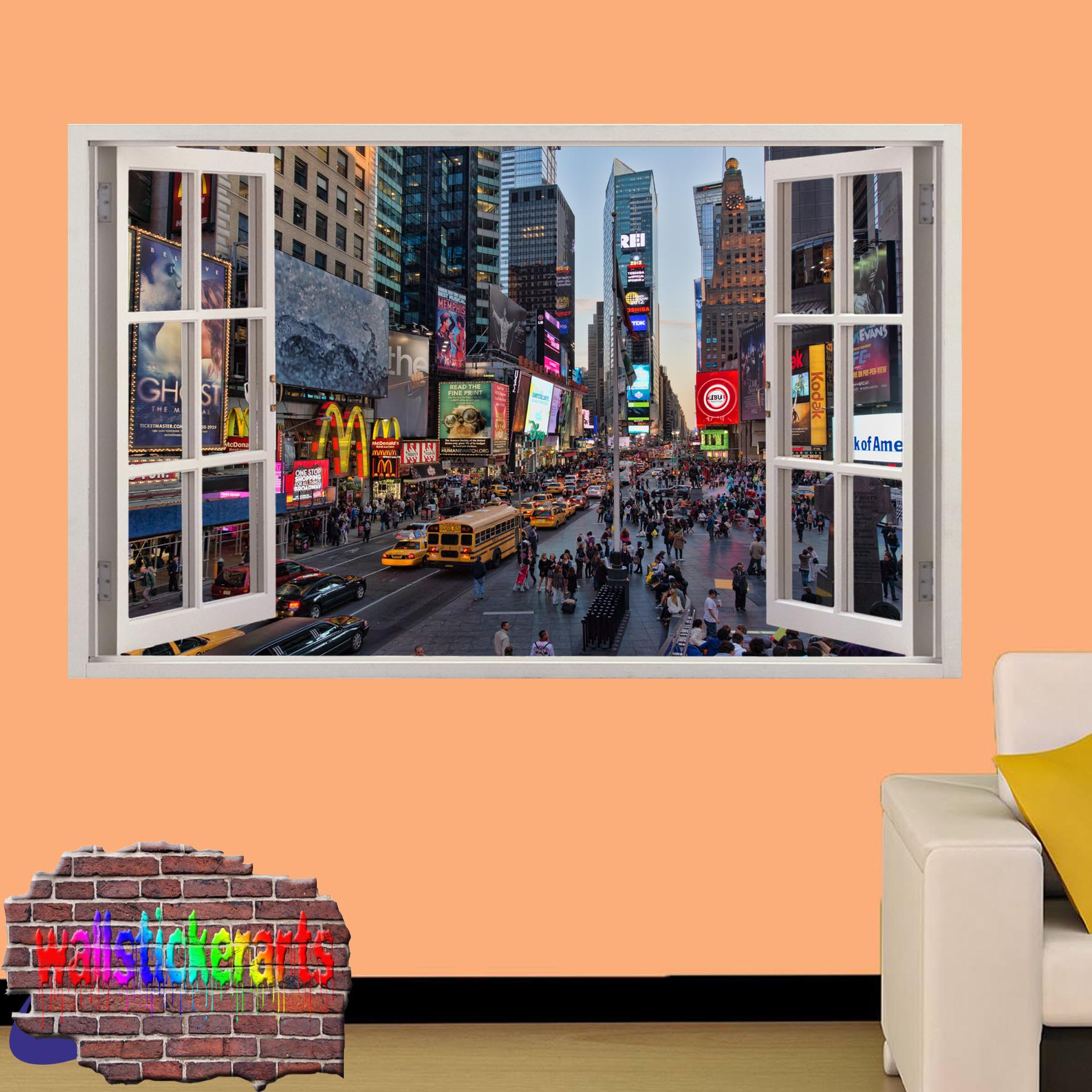 TIMES SQUARE NEW YORK 3D ART WINDOW EFFECT WALL STICKER ROOM OFFICE ...
