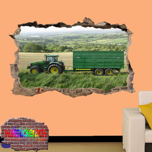 JOHN DEERE TRACTOR AND VAGON AGRICULTURAL FARMING TOOLS 3D ART