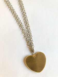 Sautoir White and Gold Heart Necklace