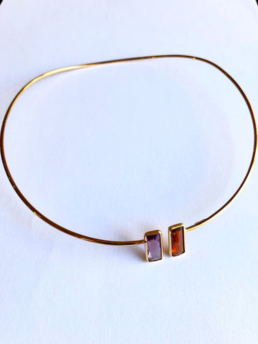Necklace Choker Gold 18k with Amethyst and Grenat Fiorella
