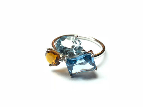 Aquamarine, Blue and Citrine Topaz Ring