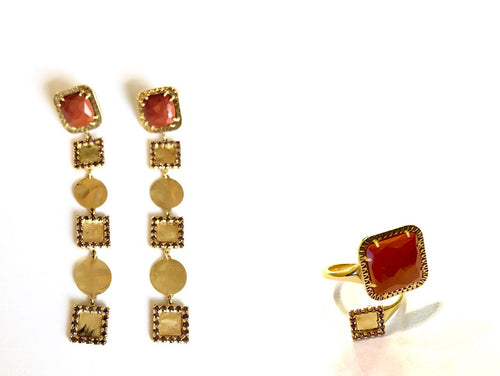Earrings and Ring *Set* 18k Gold with Red Jasper and Spinel Fiorella