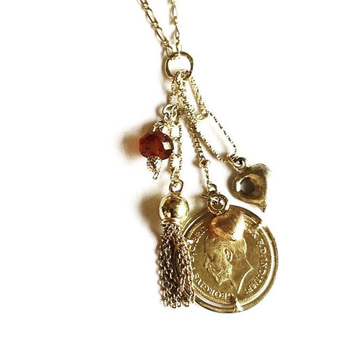 Lucky Charms Necklace 18k Gold Agate King George Gold Coin Gold hearts Plume Collection