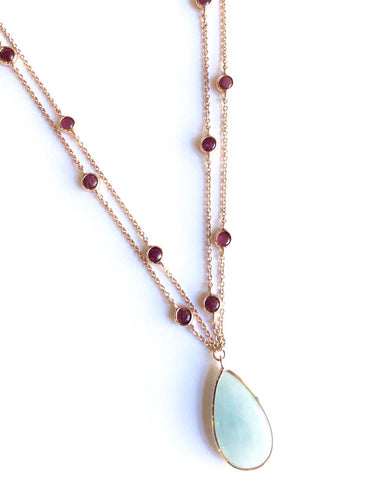 Necklace Rose Gold with Red Tourmaline and Chalcedony