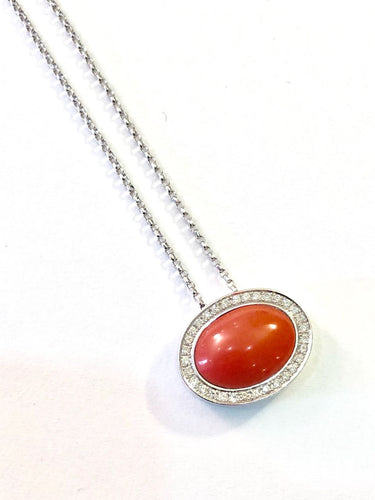 Pendant with Diamonds and Coral stone Made in Italy