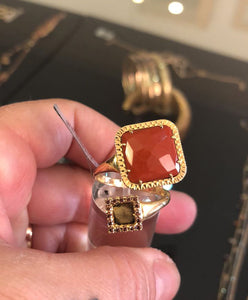 Ring 18k Gold with Red Jasper Fiorella