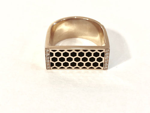 Rose gold pinky ring with diamonds & enamel