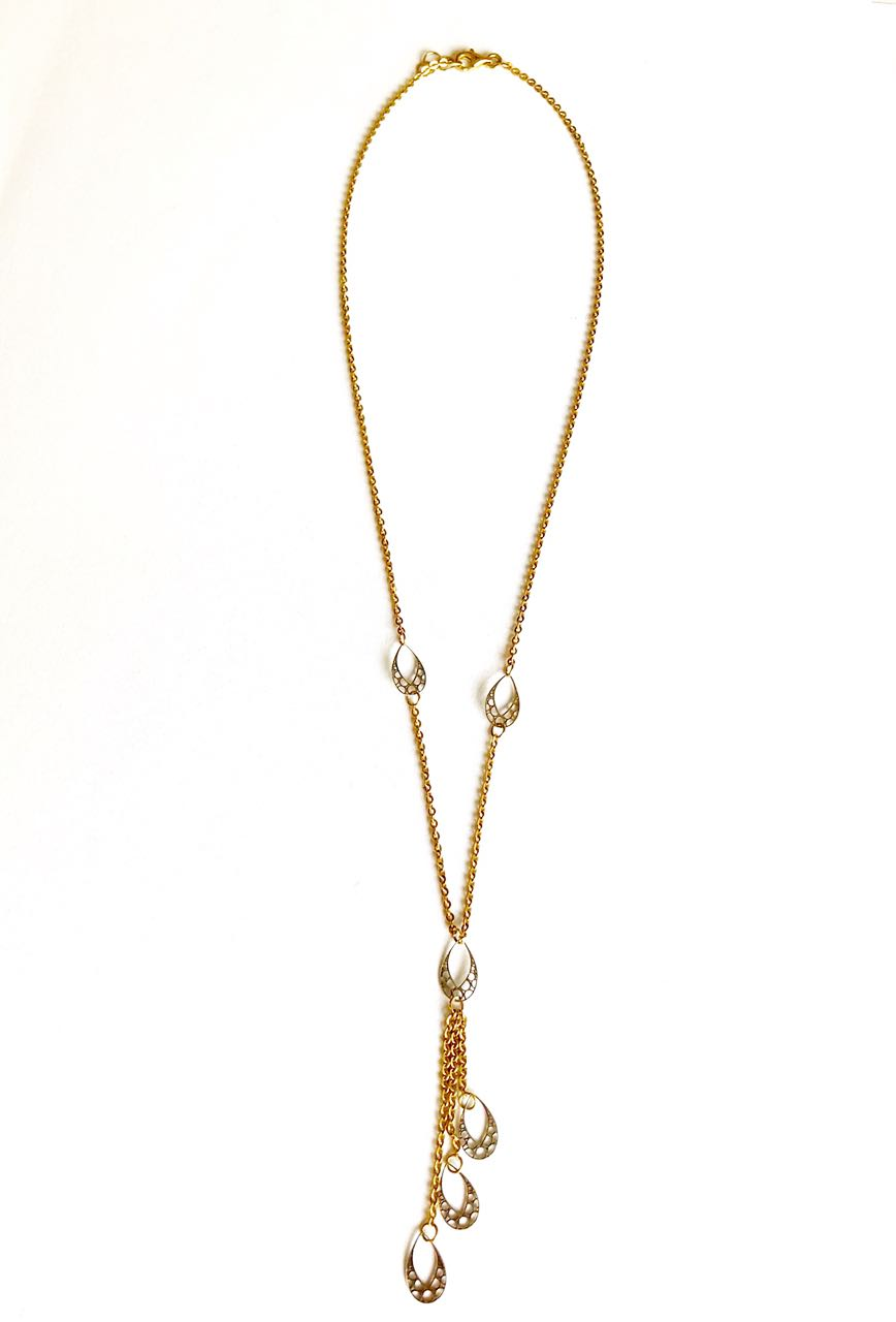 Necklace Thin White and Yellow Gold