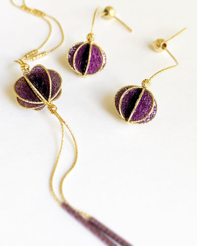 Purple Gold Necklace and Earrings *Set* 18k Made in Italy