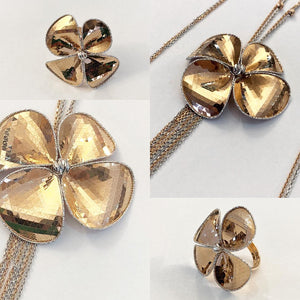 Faceted White and Rose 18k gold Mirror Set, Ring and Necklace, Made in Italy