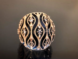 Lorenzo Ungari 18k Gold Black Enamel Ring