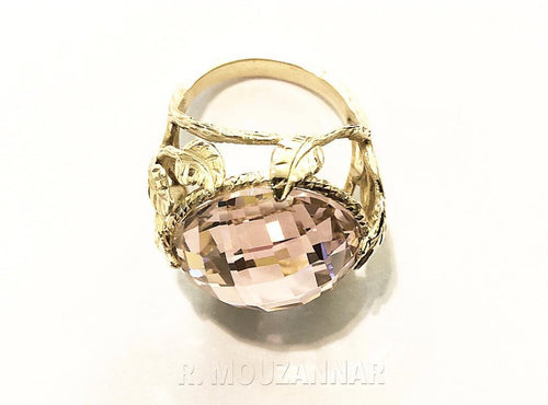 Ring 18k Gold Made in Italy With Pink Synthetic Stone