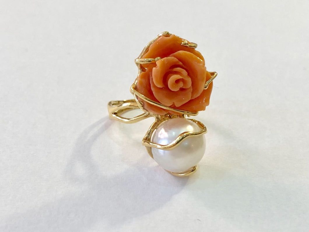 Ring 18k Gold Coral and Pearl Made in Italy